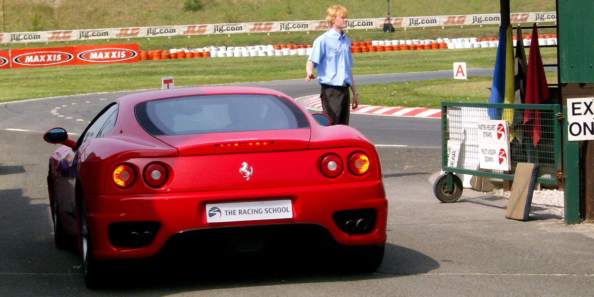 In a Ferrari, quite literally about to die.