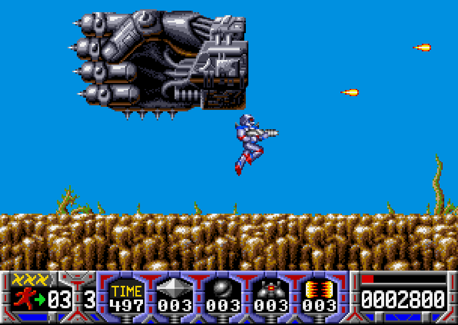 Turrican steel fist boss.